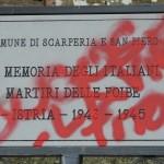 SCARPERIA: Danneggiata la targa da poco installata in ricordo delle foibe