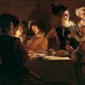 Gerrit van Honthorst (Gherardo delle Notti) (Utrecht 1592-1656), Cena con suonatore di liuto, 1619-1620, olio su tela, Firenze, Galleria degli Uffizi.