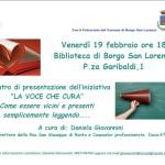"""BORGO SAN LORENZO – Progetto """"La voce che cura""""  attività di lettura agli ospiti della San Giuseppe"""