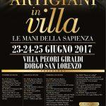 """Mugello – Il programma degli eventi del fine settimana – A Borgo S. Lorenzo """"Artigiani in Villa"""""""